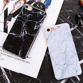 Marble Texture plastic back Cover Phone case for iPhone 6 6S 6Plus 6s plus 7 7Plus 5 5S SE case coque ultra thin Hard PC Stone