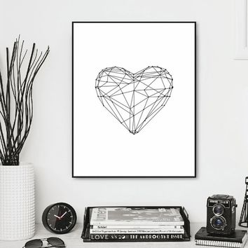 Geometric Heart Shape Art Print Wall Pictures for Home Decoration Minimalism Wall Art Decor Print No Frame
