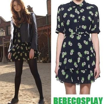 UK10 Whistles Beatrice Pineapple Print Dress Navy Amy Pond Doctor Who Cosplay SA