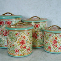 Vintage Turquoise Pink and Gold Floral Canister... in Midtown, Manhattan ~ Apartment Therapy Classifieds