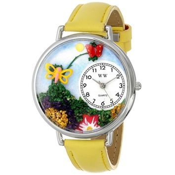 SheilaShrubs.com: Unisex Butterflies Yellow Leather Watch U-1210001 by Whimsical Watches: Watches