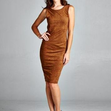 Suede Bodycon Dress