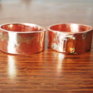 Artisan Wedding Bands, Copper and Citrine Band, Sterling Silver Fused to Copper Band - Mixed Metals Wedding Band