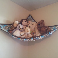 Baby Blue and Brown Variegated Stuffed Animal Net / toy hammock (corner, boy, crochet, handmade, ribbon, grommet, eyelet, strong, large)