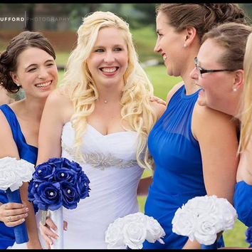 17 Piece Royal Blue & White Rose Bouquet Wedding Package Set with Matching Boutonnieres and Corsages