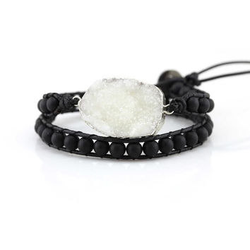 Vegan - White Druzy and Matte Onyx Beads Double Wrap Bracelet on Black Wax Cord