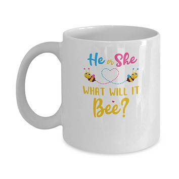 Gender Reveal Pink Or Blue What Will It Bee He Or She Family Mug
