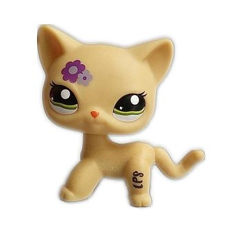 UJ small doll quality cute toys Lovely Petshop animal yellow cat with purple flowers action figure littlest doll toys 2341