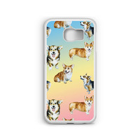 Phone Case Cute Corgi Pastel Pattern for Samsung Galaxy S4, S5, S6, S6 EDGE, S6 EDGE Plus, S7 and S7 EDGE