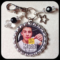 SHAWN MENDES Personalized Name Bottle Cap Name Pendant with Beads & Charm.  Jewelry for Necklace, Zipper Pull - Key Ring Chain.