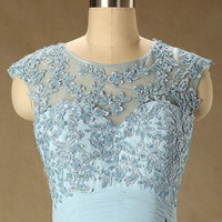 Elegant Custom Made Cap Sleeve A Line Long Chiffon Formal Blue Lace Prom Dresses 2014 Evening Dresses Mother of the Bridal Dress