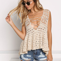 Natural Plunge Cross Strap Crochet Tank Top