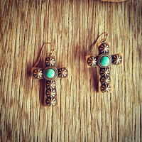 Gold Aztec Turquoise Cross Earrings