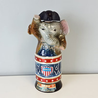 Vintage Jim Beam Republican Elephant Decanter 1976 Ceramic Elephant Whiskey Bottle with Hat, Vintage Jim Beam Bourbon Whiskey Decanter