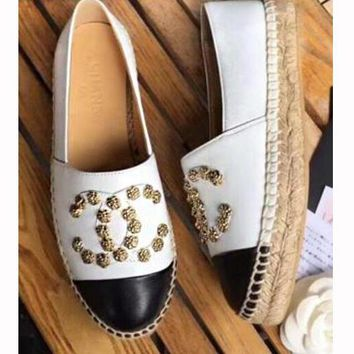 Chanel Fashion Women Metal Camellia Rivet Espadrilles Single Shoes Fisherman Shoe White I12924-1