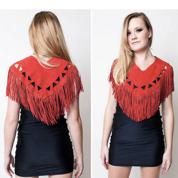 $48.00 Red Leather Fringe Top by rumors on Etsy