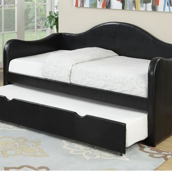 Poundex F9260 Black finish faux leather padded twin size day bed with pull out trundle