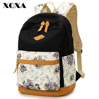 Brand Genuine Quality Leather Canvas Bag Backpack Women Backpack School Girl Floral Backpack Printing Backpack Women Backpack