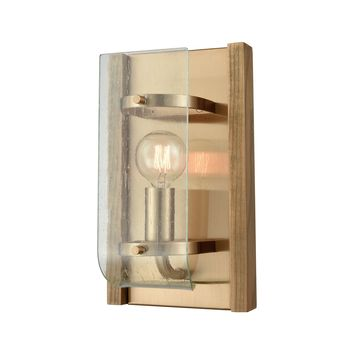 32330/1 Vindalia 1 Light Wall Sconce In Satin Brass With Wood Slats And Curved Glass - Free Shipping!