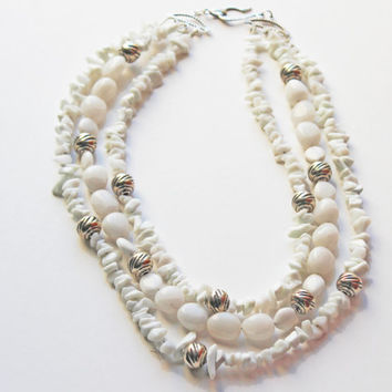 White Agate Necklace, Multirow Necklace, Sterling Beads, Sterling Clasp, White and Silver Necklace, Beaded necklace, Gift for her