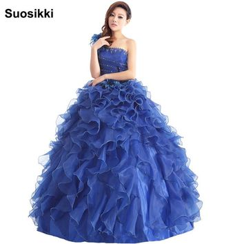 Suosikki Arrival Evening Dress Ball Gown One Shoulder Ruffle Rhinestone Evening Gown Prom Dresses Vestido De Festa Longo 2016