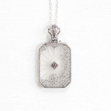 Antique Art Deco Camphor Glass Necklace - Vintage 1920s 1930s Flower Floral Filigree Rare Silver Tone Pendant & Sterling Chain Jewelry