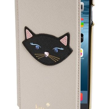 kate spade new york leather cat appliqué iPhone 6 & 6s folio case | Nordstrom