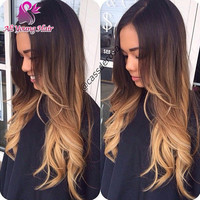2016 Hot Selling Blonde Ombre Glueless Full Lace Human Hair Wigs Brazilian Body Wave Ombre Lace Front U Part Wig With Baby Hair