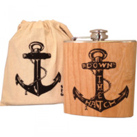 "Stainless steel flasks wrapped with tattoo anchor printed and ""Down The Hatch"" written on natural color wooden! Comes with muslin bag and care card."