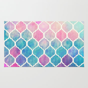 Rainbow Pastel Watercolor Moroccan Pattern Area & Throw Rug by micklyn | Society6