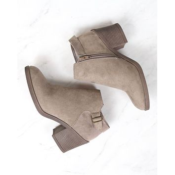 casual faux suede block heel ankle bootie - more colors