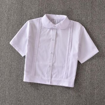 Cute Girls Japanese School Uniform Style Girls Short JK White Blouse Accordion Pleats Peter Pan Collar Short Sleeve Shirt Tops