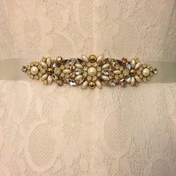 Gold, Opal, Ivory Crystal and Pearl Vintage Inspired Jewel Embellished Satin Ribbon Bridesmaids Bridal Belt Sash