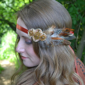 Natural Festival Beaded feather Headband Headdress, Boho, Chic, Native american headdress