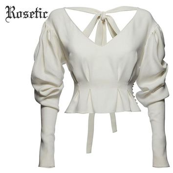 White Lace-Up Bead Lantern Sleeve V-Neck Gothic Blouse