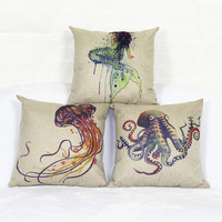 3type New mermaid octopus jellyfish Pillowcase Sea World cushions Throw Pillows Decorative pillows free shipping Without Inner%
