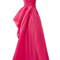 One Shoulder Draped Ball Gown With Lace Applique