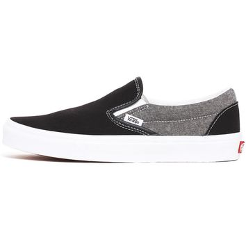 Chambray Classic Slip-On Women's Sneakers Canvas Black