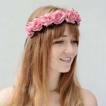 Sweet Pink Rose Crown. Pink Flower Crown, Rose Headband, Flower Girl, Festival Hair 2014, Floral Crown, Circlet, Halo, Rose, Headpiece
