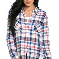Front Pocket Button Up Plaid Flannel in Red and Blue