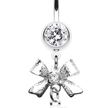 Bow-Tie Heart Belly Button Ring