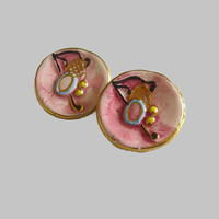 Round Ceramic Earrings, Handpainted Pink Blue Black Gold & Gold Tone Clip Ons, Abstract, Modernist, Fab!
