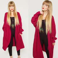 Vintage 80s SLOUCHY Cardigan Magenta Oversized Sweater Knit Maxi Duster