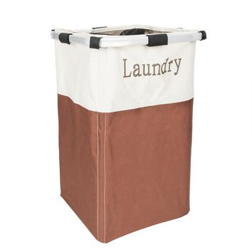 Portable Single Lattice Laundry Basket Brown & White
