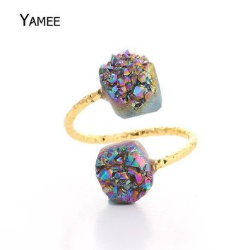 Handcraft Double Stone Druzy Ring for Women Men Gold Raw Crystal Drusy Titanium Quartz Jewelry Rings Adjustable Anillos Mujer