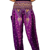 Boho Harem Yoga Pants - Peacock Purple