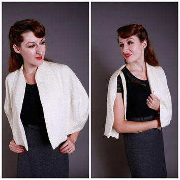 Vintage 1950s Capelet - Textured Ivory Summer Capelet with Shawl Collar - Alabaster