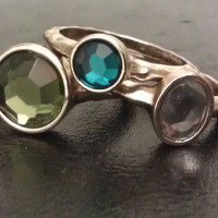 Bohemian Green, Blue and White Layered / Stackable Rings