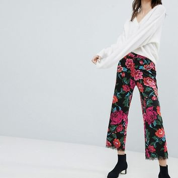 ASOS Jersey Trousers in Floral Print with Lace Hem at asos.com