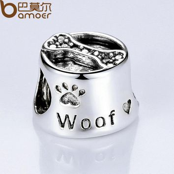 Vintage Silver Color Cute Dog Footprint & Bone European Baby Charms for Beads Bracelet DIY Accessories PA5292